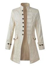 Branco Vintageblazer Estilo Aristocrata Botão Decoração Stand Collar Retro Trajes Para O Homem Halloween