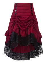 Traje gótico mulheres botões Ruffle Lace Borgonha Saia Retro Halloween