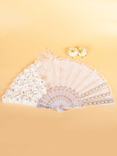 1920s Great Gatsby Accessory Flapper Accessories White Feathers Flowers Lace Fan Halloween