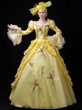 Amarelo Trajes Retro Rendas Ruffles Bordados Marie Antoinette Traje Vestido Estilo Rococó Festa Prom Dress Halloween