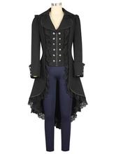 Traje gótico preto Double Breasted Lace Zipper plissado Gothic Retro sobretudo para mulheres Halloween