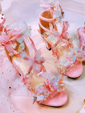 Sweet Lolita Sandals Butterfly Pink Chunky Heel Lolita Summer Shoes