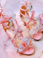 Сладкие Лолита Сандалии Бабочка Розовый Коренастый Каблук Лолита Летняя Обувь