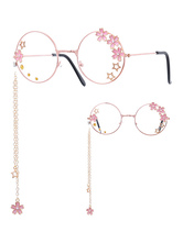 Sweet Lolita Glasses Pink Chains Flowers Stars Round Frame Sunglasses