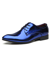 Blue Dress Shoes Men Pointed Toe Faux Leather Lace Up Party Shoes