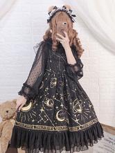 Robe JSK Sweet Lolita Jupes Lolita Plissées à Volants Planète Noire