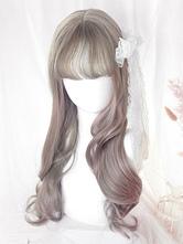 Lolita Long Wig Highlighting Light Gray Blunt Bang Lolita Hair Wigs