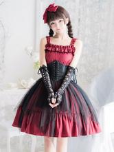 Robe Gothique Lolita JSK Steampunk Sans Manches Volants Robe Rouge Noir Lolita