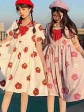 Sailor Lolita OP Dress Floral Print Bow Short Sleeves Lolita One Piece Dresses