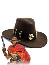 Carnaval Carnaval Sombrero de vaquero de algodón Mccree Mcwree de Overwatch de Brown Anime