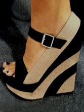 Women espadrille Wedge Sandals Black Platform Open Toe Buckle Detail Sandal Shoes
