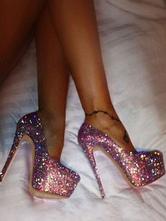 Frauen Sexy Schuhe Glitter Plattform Mandel Pfennigabsatz Abendschuhe High Heel Party Schuhe
