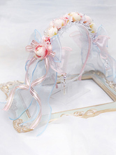 Lolita Wedding Headband KC Flower Ribbons Bows Lolita Hair Accessories