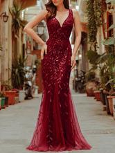 Vestido de lentejuelas 2021 Cuello en V sin mangas Longitud del piso Vestido de fiesta formal Vestidos de invitados de boda