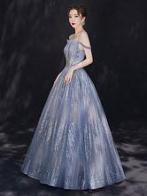 Vestido de noche 2021 Constellation Dress Princess Silhouette Bateau Neck Hasta el suelo Con lentejuelas Sin mangas Cena formal Vestidos de noche
