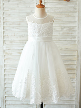 Blumenmädchen Kleider Prinzessin milchweiß Abendkleider für Hochzeit knielang mit Rundkragen Hochzeit Tüll ärmellos kleid blumenmädchen