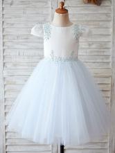 Blumenmädchen Kleider Babyblau Abendkleider für Hochzeit Satingewebe Kurzarm Prinzessin Hochzeit mit Rundkragen kleid blumenmädchen knielang