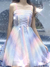 Robe JSK Sweet Lolita Marcher Sur Les Arc-en-Ciel Etoiles Imprimer Sequins Jupes Jumper Lolita Bleu Ciel