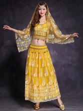 Trajes de dança do ventre amarelo mulher dança do ventre bordado lantejoulas tule desempenho vestido
