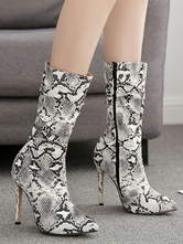 "Mid Calf Boots For Women Python Leather Pointed Toe 4.3"" Boots"