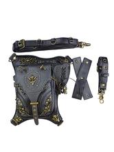 Bolso gótico Lolita Remaches de cuero de PU negro Detalles de metal Paquete de cintura geométrica de cuero de PU Accesorios de Lolita