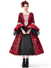 Victorian Dress Costume Retro Costumes Lace Tulle Printed Red Dress Women's Trumpet Long Sleeves Lace Up Ball Gown Retro Costume Masquerade Viactorian Era Clothing