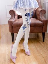 Exotic Lolita Socks White Flowers Pantyhose
