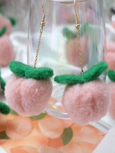 Pendientes de lolita dulce Pompones Pendiente de rosa Mezcla de algodón y poliéster Joyas de lolita