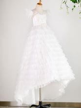Flower Girl Dresses Jewel Neck Tulle Short Sleeves Floor Length Princess Silhouette Lace Formal Kids Pageant Dresses