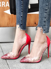 Red High Heels Pointed Toe Stiletto Heel Pumps