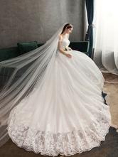 Abiti da sposa in pizzo Applique in pizzo avorio con spalle scoperte Abito da sposa principessa manica corta con strascico