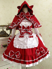 Classic Lolita Outfits Burgundy Two Tone Bows Bowknot Cotton Lolita JSK With Cloak