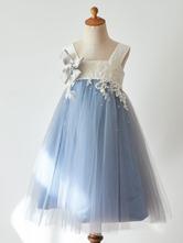 Vestidos De Menina De Flor Do Bebê Azul Correias Pescoço Sem Mangas Rendas Crianças Vestidos De Festa