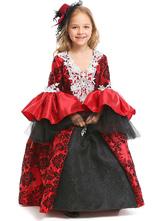 Disfraz de niños Halloween Disfraces de Halloween para niños Ture Red Vampire Kid 's Lace Dress Headwear Disfraz Carnaval Disfraz Halloween