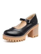 "Mary Jane Scarpe vintage tacco grosso Punta tonda 3.1 ""Scarpe da donna"
