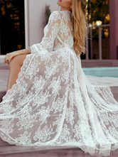 Cover Ups For Women White Floral Print Strappy V Neck Long Sleeves Semi-Sheer Lace Summer Beach Swimwear