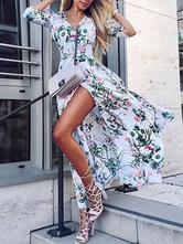 Vestido maxi floral mangas botão v pescoço mulheres vestido de férias