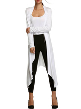abrigo mujer larga blanco con manga larga Algodón del Poliester Color liso Moda Mujer Irregular Fina estilo informal Otoño Chaquetas
