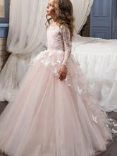 Abiti da ragazza di fiore Abiti gioiello Collo a maniche lunghe Farfalla Abiti da principessa per bambini formale