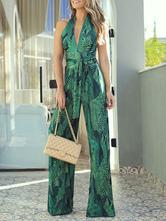 Combinaison Pour Femmes Vert Imprimé Halter Sans Manches Bretelles Dos Nu Jambes Larges Jumpsuit