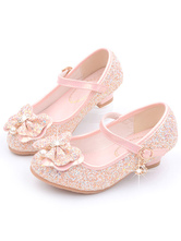 Flower Girl Shoes Pink Sequined Cloth Bows Mary Jane Party Shoes For Kids