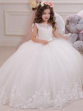Vestidos Da Menina de flor Jewel Neck Tulle Sem Mangas No Tornozelo Comprimento vestido De Baile Sash Kids Party Dresses