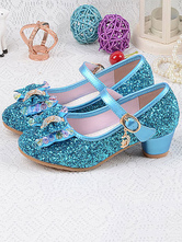 Flower Girl Shoes Silver Sequined Cloth Bows Party Shoes For Kids Elsa Shoes In Frozen