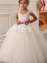 Robes cortège enfant col carré en dentelle manches courtes longueur à la cheville robe de fille de fleur