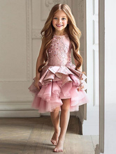 Vestidos de niña de las flores Cuello joya Sin mangas Hasta la rodilla Apliques Una línea Vestidos de fiesta social para niños