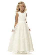 Blumenmädchen Kleider Weiß Abendkleider für Hochzeit Tüll ärmellos Prinzessin Hochzeit mit Rundkragen kleid blumenmädchen knöchellang