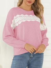 Mulheres Pullover Sweater Casual Jewel Pescoço Mangas Compridas Impresso