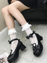 Sweet Lolita Footwear Pink Bows Buttons Round Toe Lolita Pumps
