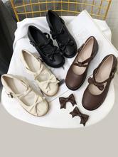 Sweet Lolita Footwear Black Buttons Bows Lolita Shoes