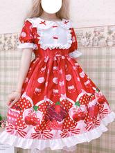 Sweet Lolita OP Dress Printed Red Bows Ruffles Lolita One Piece Dresses